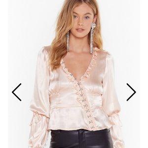 Let me off the hook eye satin blouse